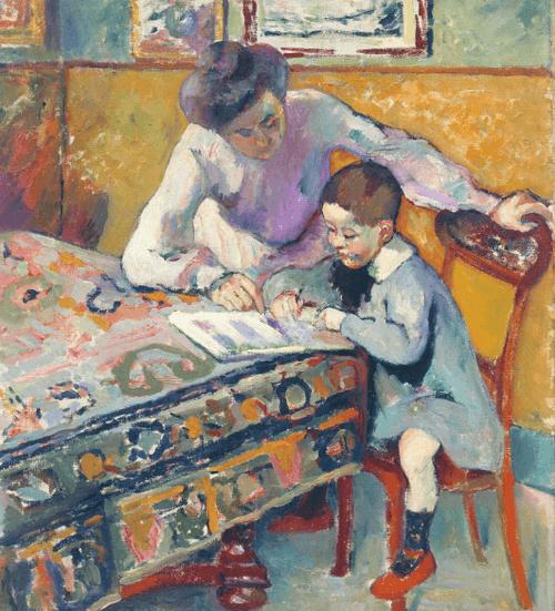 Manguin. Jeanne Manguin y su hijo Claude La lectura